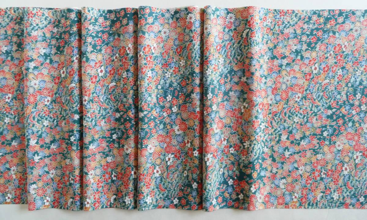 ■彩■古布着物はぎれ/ハギレ 37×164 正絹 縮緬 小花尽くし 鉄色 リメイク素材 お人形 お細工_画像5