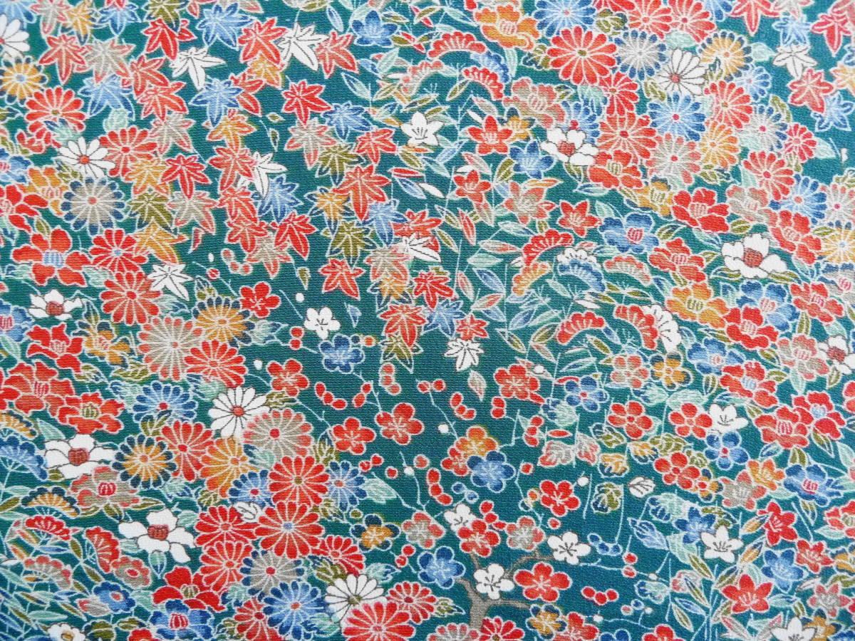 ■彩■古布着物はぎれ/ハギレ 37×164 正絹 縮緬 小花尽くし 鉄色 リメイク素材 お人形 お細工_画像2