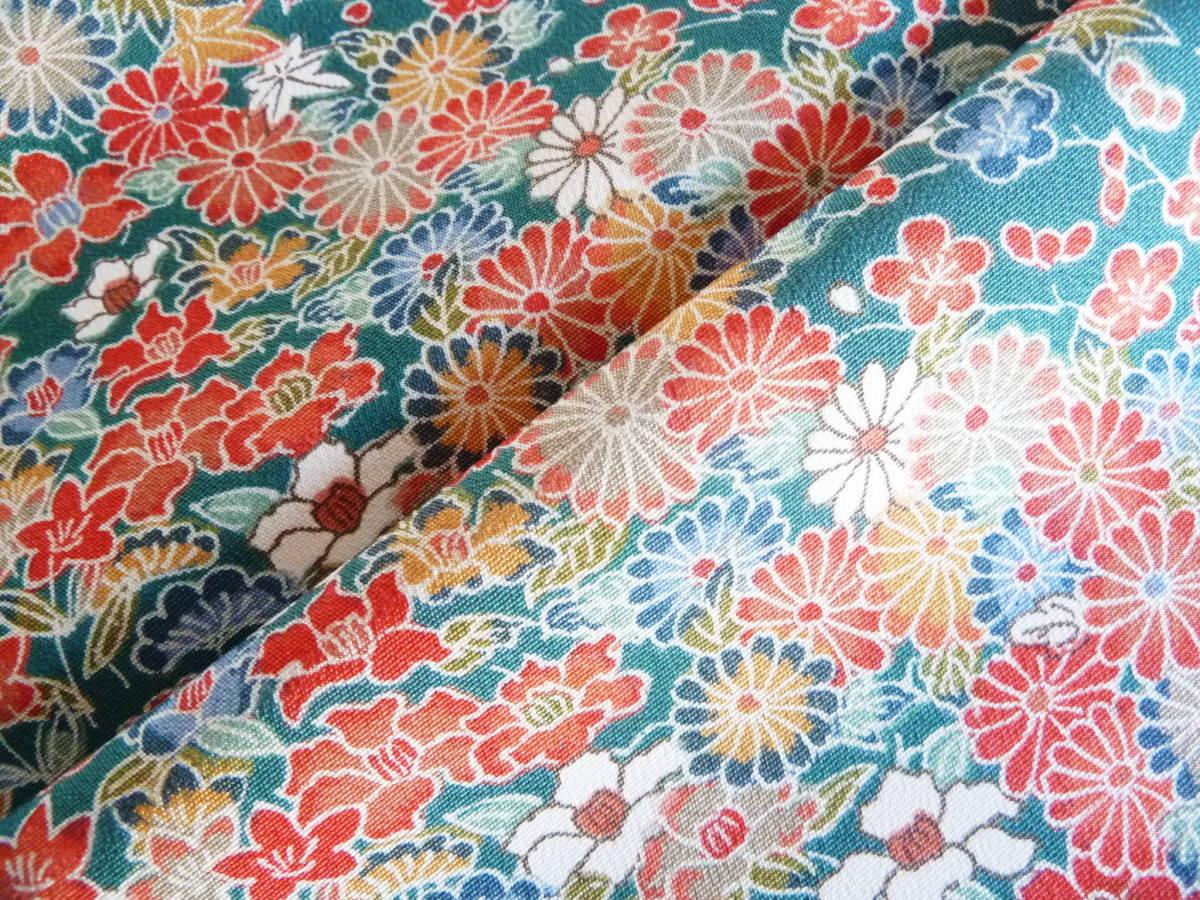 ■彩■古布着物はぎれ/ハギレ 37×164 正絹 縮緬 小花尽くし 鉄色 リメイク素材 お人形 お細工_画像4