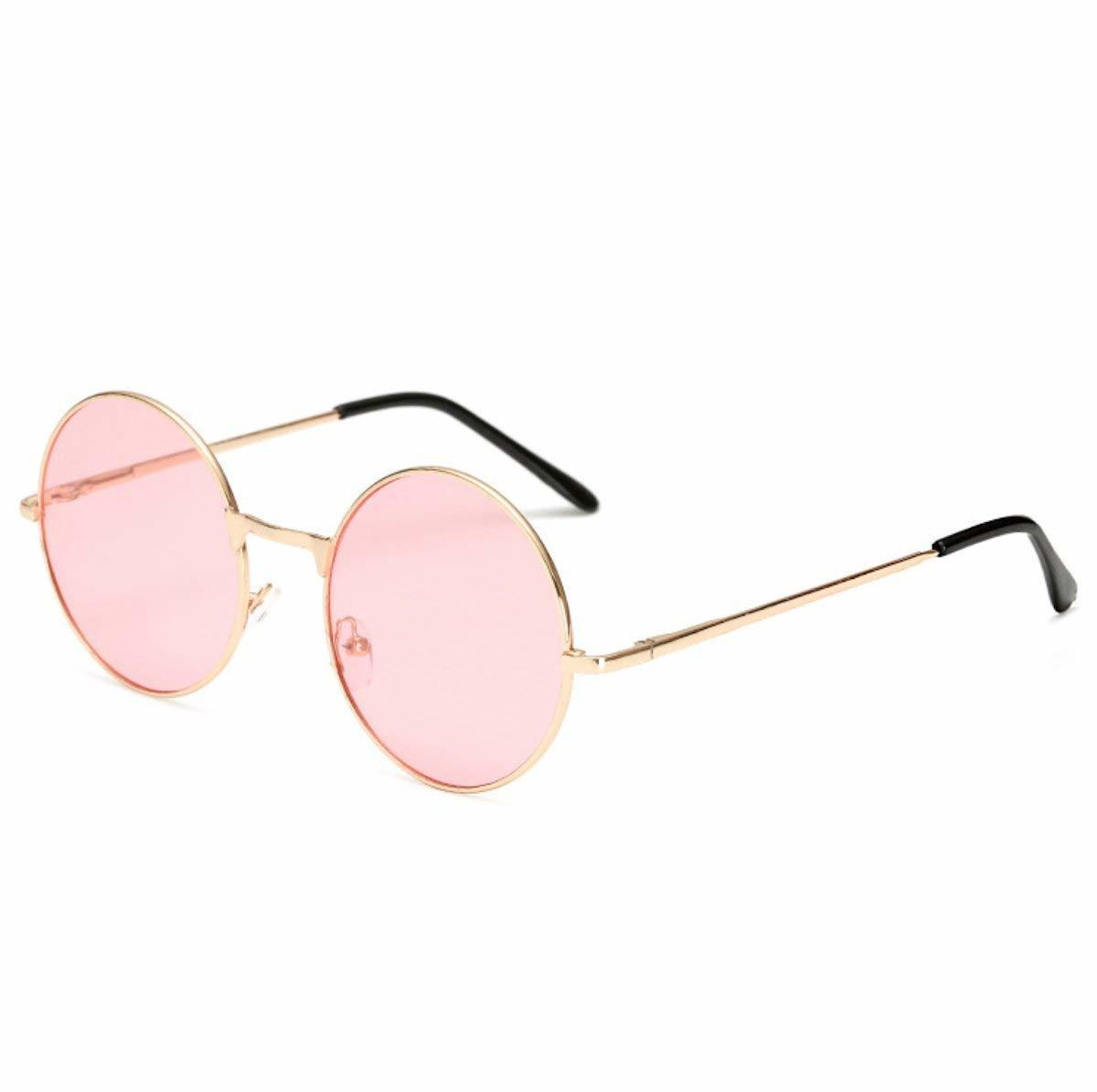 【メガネケース&クロス付】丸型 サングラス 丸サングラス ラウンド型 ファッション丸メガネ 軽量 UVカット クリアピンク 送料無料_画像1