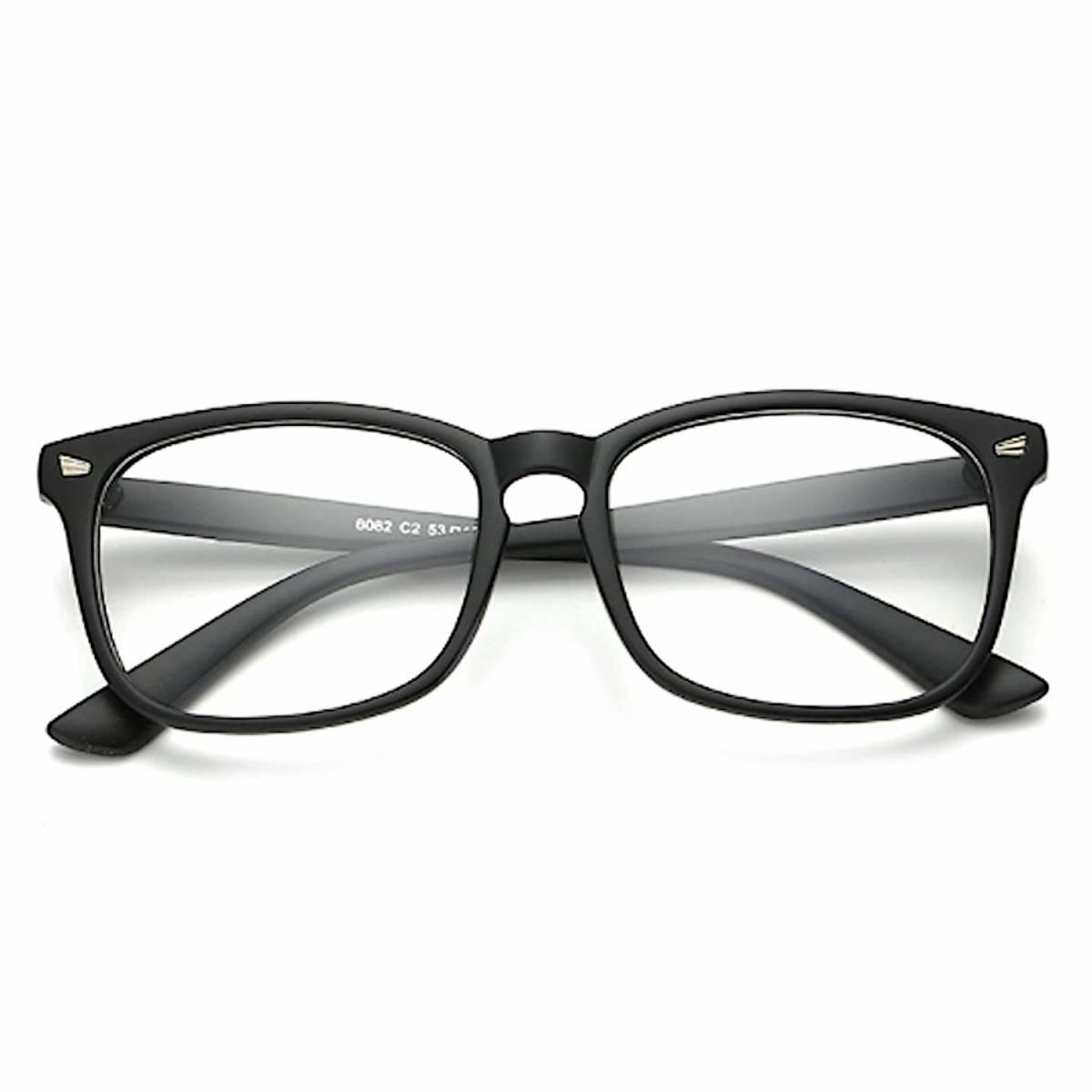 【メガネケース&クロス付】伊達メガネ 超軽量 ブルーライトカット 伊達眼鏡 ウェリントン型 おしゃれ 黒縁眼鏡 マットブラック 送料無料_画像1