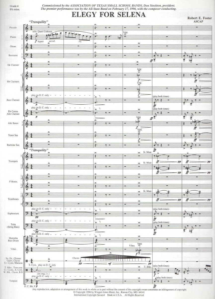吹奏楽楽譜/ロバート・E・フォスター:セレナのためのエレジー/試聴&スコア閲覧可/Robert E. Foster:Elegy for Selena_画像3