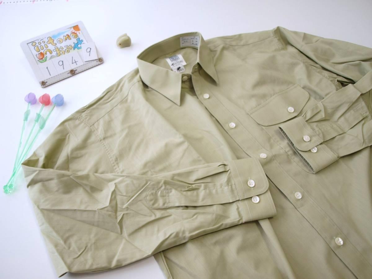 ♪服1949♪ 長袖 絹10%混紡のワイシャツ フラップ(ふた)付きポケット BOUTON 日本製 M-80 未使用品 (クリポス発送可) ~iiitomo~_画像5
