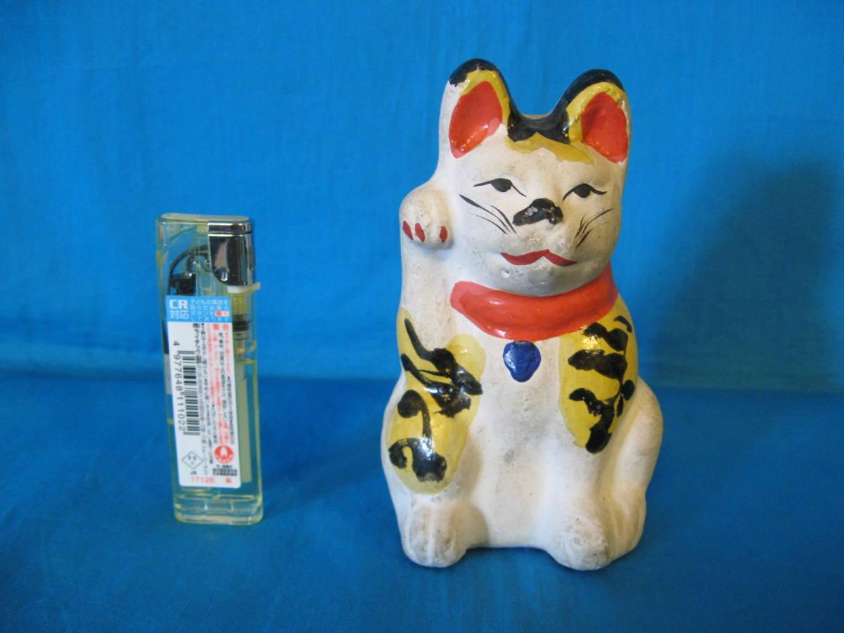 貴重!名古屋土人形?虎毛の招き猫の貯金箱(郷土玩具、郷土人形、土人形、招き猫)