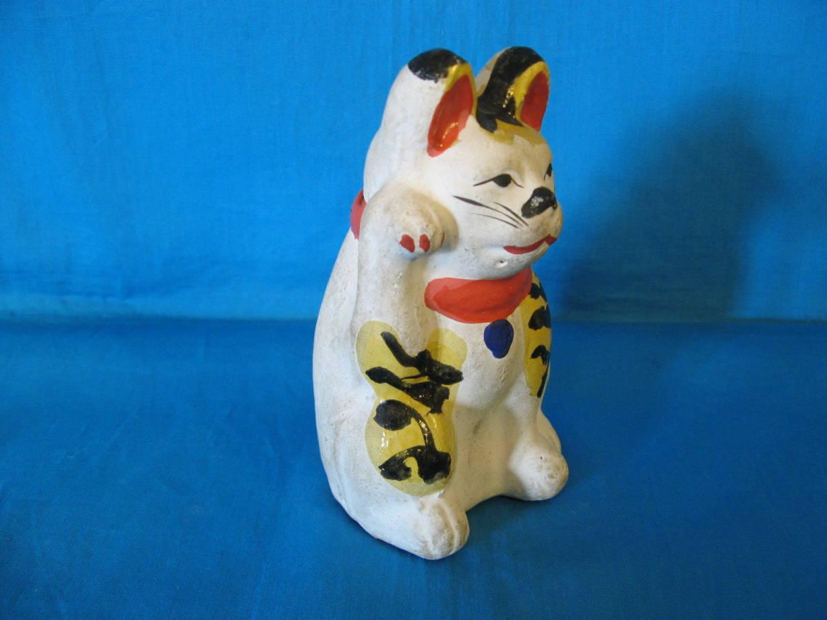 貴重!名古屋土人形?虎毛の招き猫の貯金箱(郷土玩具、郷土人形、土人形、招き猫)_画像3