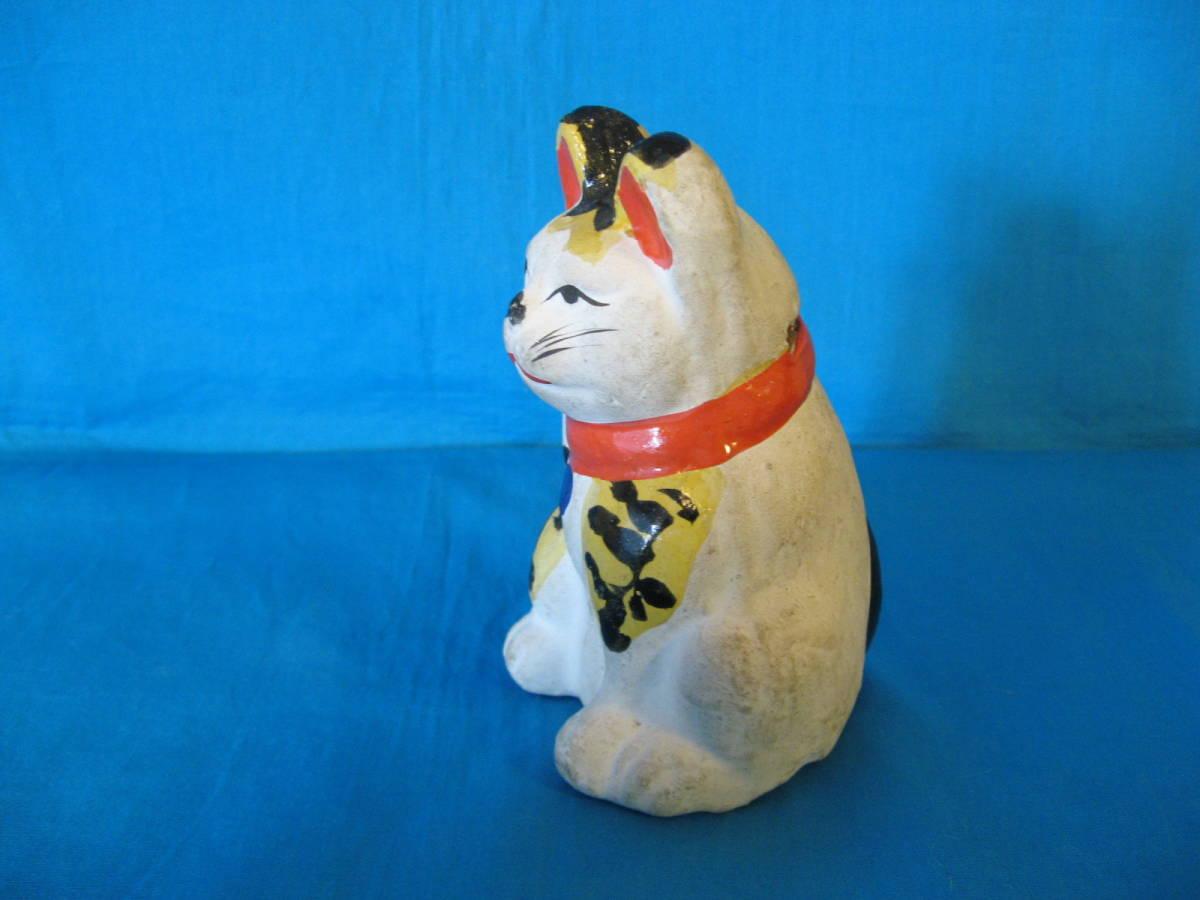 貴重!名古屋土人形?虎毛の招き猫の貯金箱(郷土玩具、郷土人形、土人形、招き猫)_画像5
