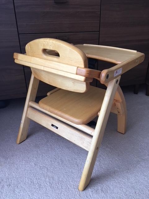 ★木製ベビーチェアー 椅子 ロータイプ 美品 曲げ木を使ったおしゃれな折り畳みローチェ