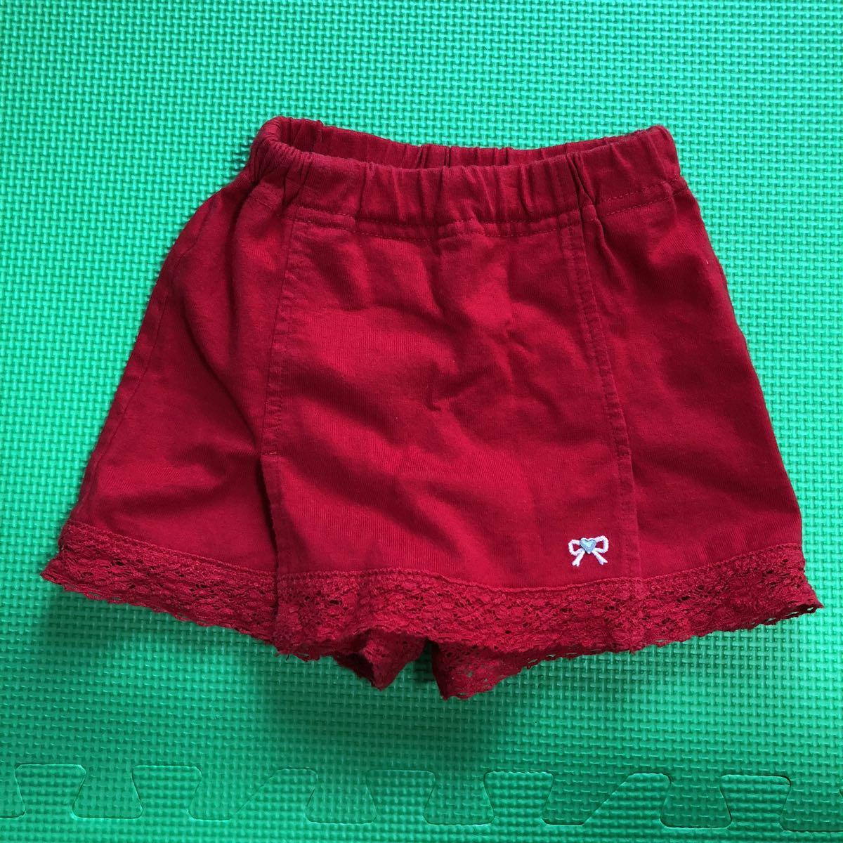 ハッシュアッシュ スカート風キュロット サイズ80 赤