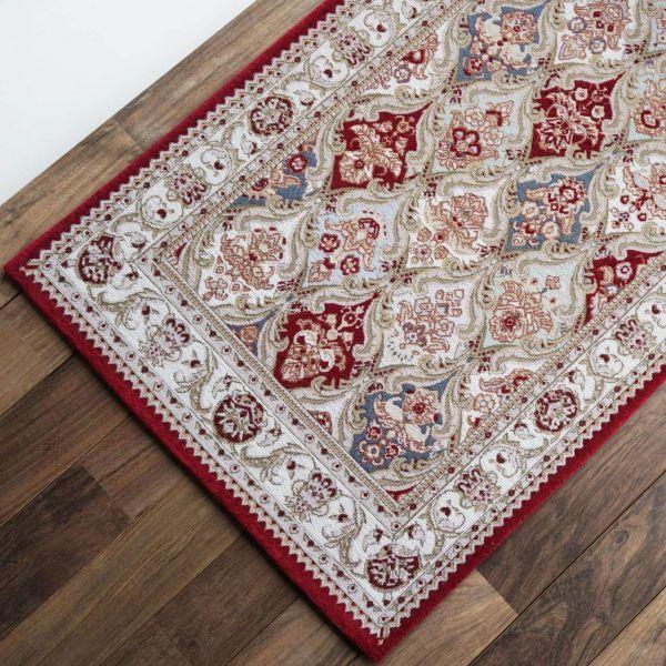 玄関マット 屋内室内用 155 レッド 約70х120cm ペルシャ柄 ゴブラン織 ( ダブル織 ) シェニール 滑り止め付き