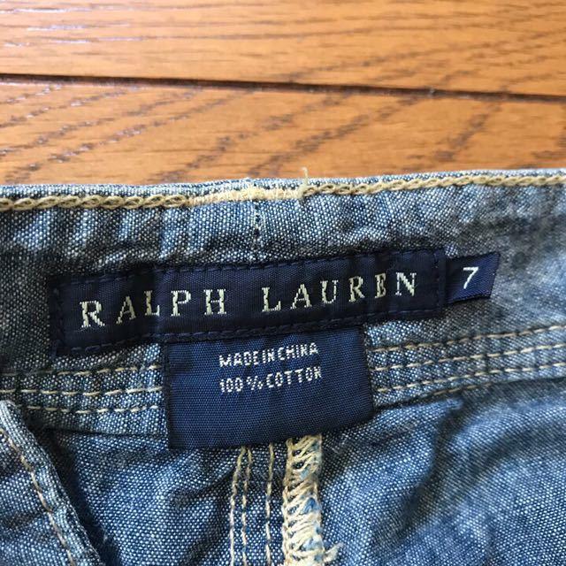 RALPH LAUREN ラルフローレン ハーフパンツ レディース 7 シャンブレー ダメージ加工 ショーツ 短パン_画像5