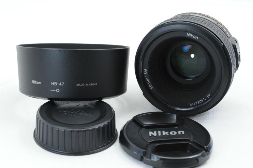 【ecoま】ニコン NIKON AF-S 50mm F1.8 G フード付 単焦点 オートフォーカスレンズ