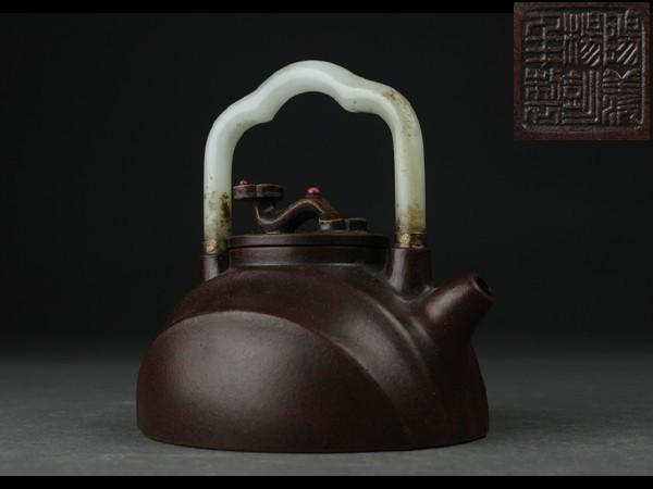 【西】S087 煎茶道具 楊彭年制 朱泥 提梁白玉持手 霊芝摘 提梁壺 極上品 唐物 急須