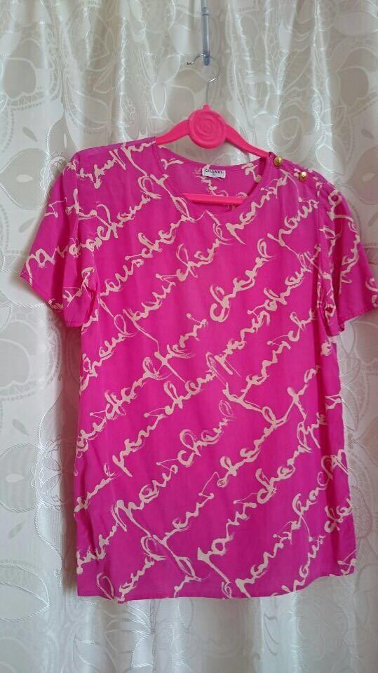 シャネル CHANEL 金ボタン付き ロゴ マーク ブラウス カメリア ピンク ホワイト 白 シャツ ワンピース_画像1