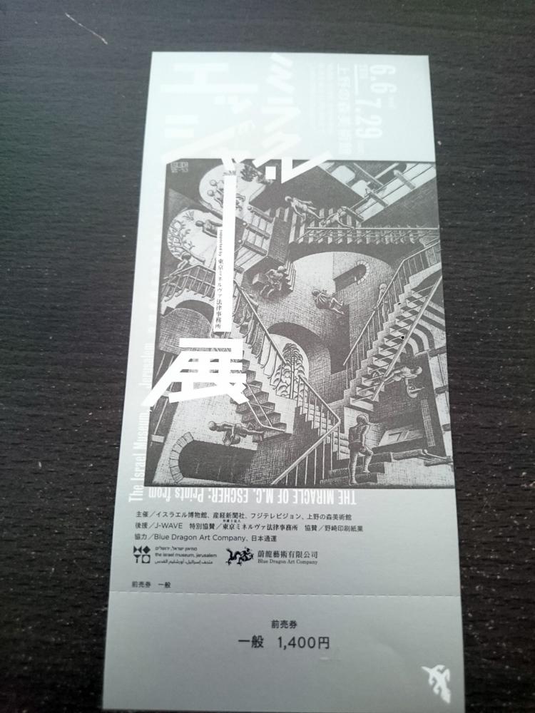 「ミラクル・エッシャー展」前売券1枚 7/29まで  送料無料