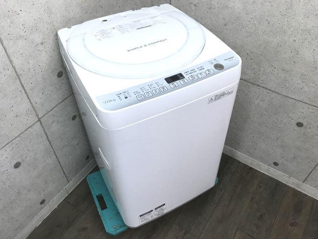 【1円~】17年製 洗濯機 シャープ ES-T709 7kg 美品 SHARP 風乾燥 ステンレス槽 C717-7