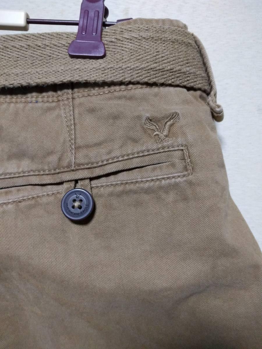 ★ 送料込み American Eagle Outfitters ショートパンツ ベルト付 longer length 30インチ ブラウン★_画像5