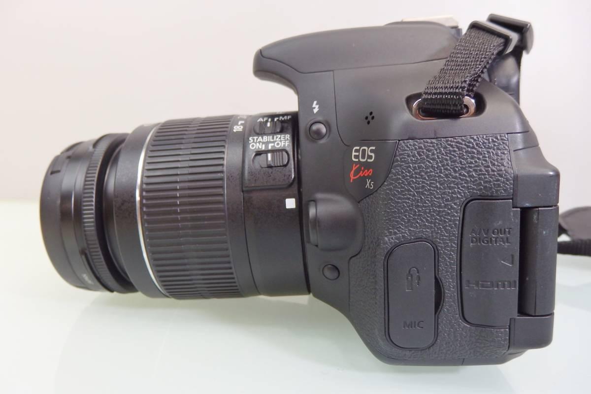 美品・使用数回♪ Canon EOS KISS X5 一眼レフ デジタルカメラ レンズ DS126311 デジカメ キャノン EF-S18-55mm F3.5-5.6 バッグ付 おまけ_画像6