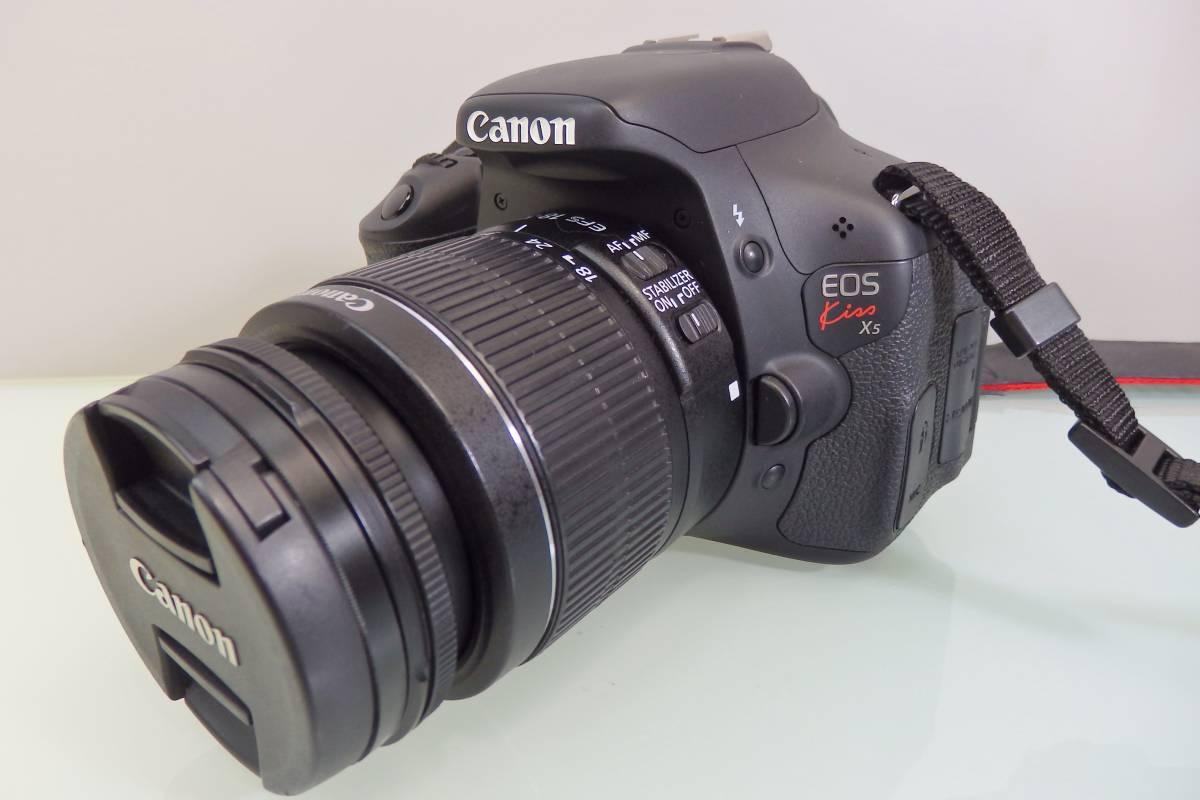 美品・使用数回♪ Canon EOS KISS X5 一眼レフ デジタルカメラ レンズ DS126311 デジカメ キャノン EF-S18-55mm F3.5-5.6 バッグ付 おまけ_画像2