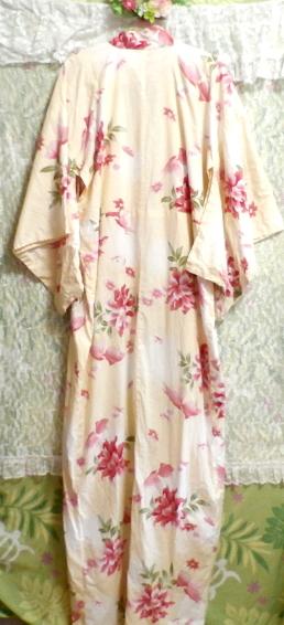 金魚花柄黄檗色浴衣/和服/着物 Goldfish floral pattern yellow color yukata/Japanese clothes/kimono_画像7