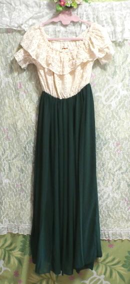 白フローラルホワイトマキシワンピース/緑シフォンロングスカート/ドレス White ruffle lace maxi onepiece/green chiffon skirt/dress_画像6