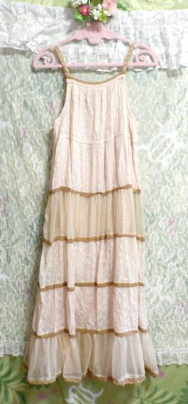 インド製綿コットン100%ピンクブラウンフワフワキャミソールマキシワンピース Indian cotton 100% pink brown fluffy camisole onepiece_画像7