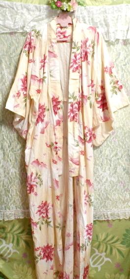 金魚花柄黄檗色浴衣/和服/着物 Goldfish floral pattern yellow color yukata/Japanese clothes/kimono_画像6