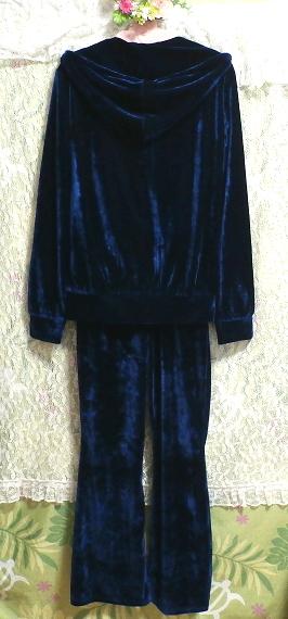 青紺ブルーベロアジャージパジャマ上着カーディガントップスズボンボトムス2点セット Dark blue velor jersey pajama coat cardigan 2 set_画像8