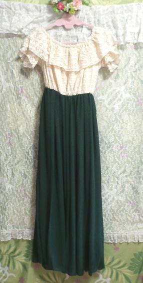 白フローラルホワイトマキシワンピース/緑シフォンロングスカート/ドレス White ruffle lace maxi onepiece/green chiffon skirt/dress_画像7