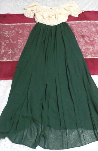 白フローラルホワイトマキシワンピース/緑シフォンロングスカート/ドレス White ruffle lace maxi onepiece/green chiffon skirt/dress_画像1