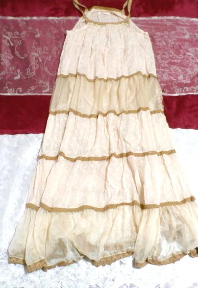 インド製綿コットン100%ピンクブラウンフワフワキャミソールマキシワンピース Indian cotton 100% pink brown fluffy camisole onepiece_画像1