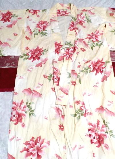 金魚花柄黄檗色浴衣/和服/着物 Goldfish floral pattern yellow color yukata/Japanese clothes/kimono_画像1