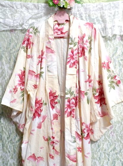 金魚花柄黄檗色浴衣/和服/着物 Goldfish floral pattern yellow color yukata/Japanese clothes/kimono_画像8