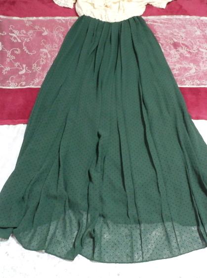 白フローラルホワイトマキシワンピース/緑シフォンロングスカート/ドレス White ruffle lace maxi onepiece/green chiffon skirt/dress_画像4