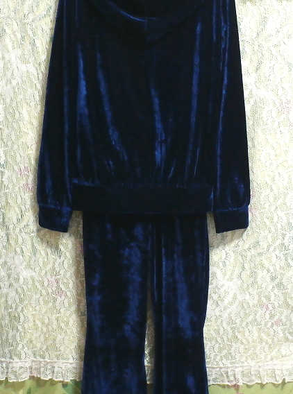 青紺ブルーベロアジャージパジャマ上着カーディガントップスズボンボトムス2点セット Dark blue velor jersey pajama coat cardigan 2 set_画像9