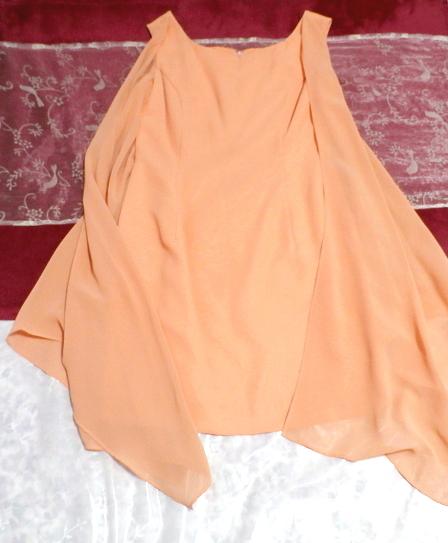 C'ESTLAVIE セラビ オレンジシフォン羽織カーディガンとシフォン襟付きワンピース2点セット日本製 Orange chiffon cardigan onepiece_画像10
