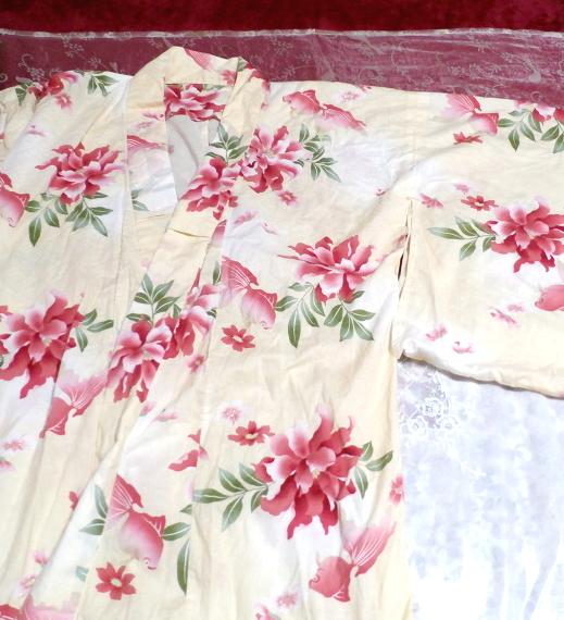 金魚花柄黄檗色浴衣/和服/着物 Goldfish floral pattern yellow color yukata/Japanese clothes/kimono_画像4