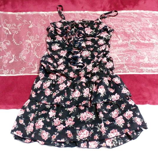 黒紺花柄キャミソールシフォンキュロットワンピース/ネグリジェ Black blue flower pattern camisole chiffon culottes onepiece/negligee