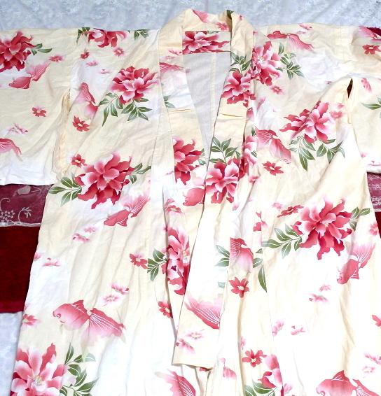 金魚花柄黄檗色浴衣/和服/着物 Goldfish floral pattern yellow color yukata/Japanese clothes/kimono_画像5