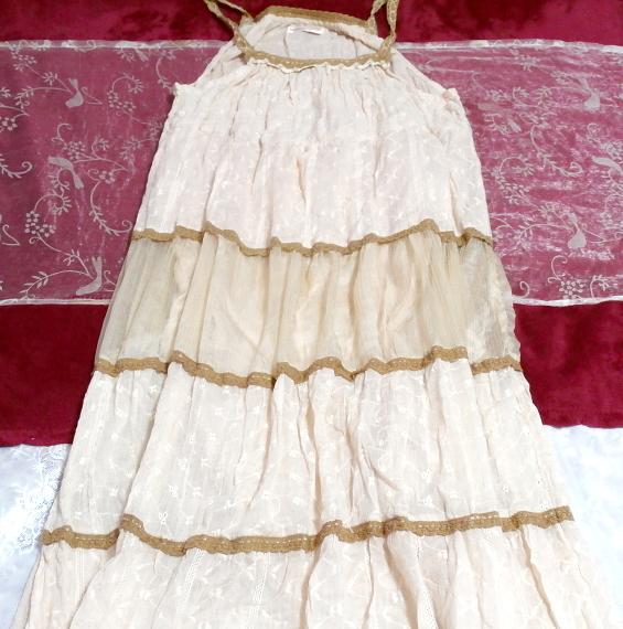 インド製綿コットン100%ピンクブラウンフワフワキャミソールマキシワンピース Indian cotton 100% pink brown fluffy camisole onepiece_画像2