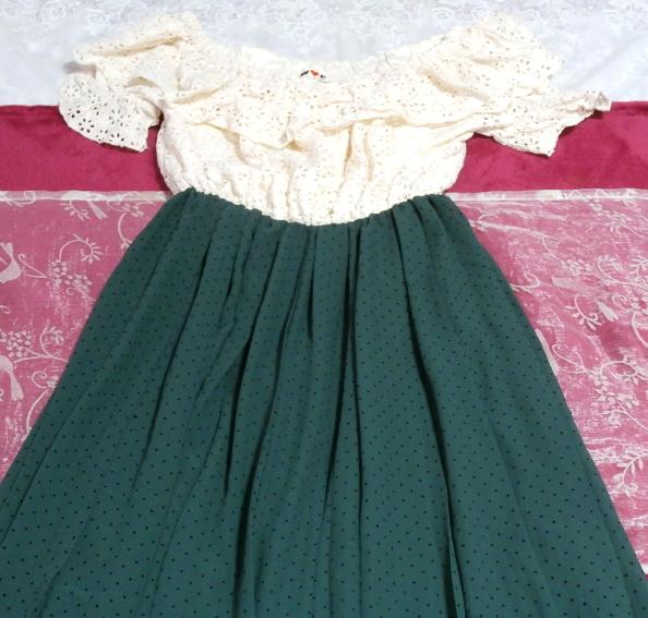 白フローラルホワイトマキシワンピース/緑シフォンロングスカート/ドレス White ruffle lace maxi onepiece/green chiffon skirt/dress_画像2