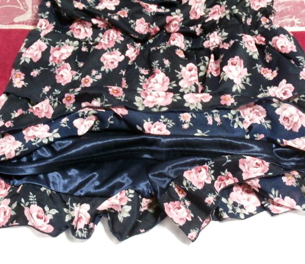 黒紺花柄キャミソールシフォンキュロットワンピース/ネグリジェ Black blue flower pattern camisole chiffon culottes onepiece/negligee_画像4