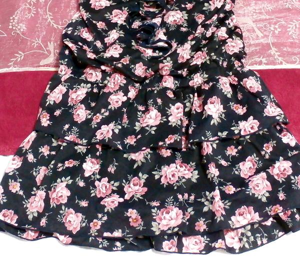 黒紺花柄キャミソールシフォンキュロットワンピース/ネグリジェ Black blue flower pattern camisole chiffon culottes onepiece/negligee_画像3