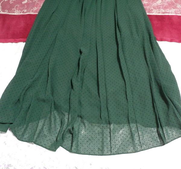 白フローラルホワイトマキシワンピース/緑シフォンロングスカート/ドレス White ruffle lace maxi onepiece/green chiffon skirt/dress_画像3