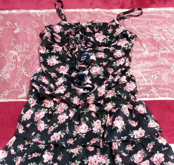 黒紺花柄キャミソールシフォンキュロットワンピース/ネグリジェ Black blue flower pattern camisole chiffon culottes onepiece/negligee_画像2