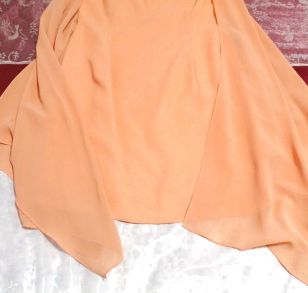 C'ESTLAVIE セラビ オレンジシフォン羽織カーディガンとシフォン襟付きワンピース2点セット日本製 Orange chiffon cardigan onepiece_画像2