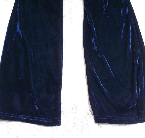 青紺ブルーベロアジャージパジャマ上着カーディガントップスズボンボトムス2点セット Dark blue velor jersey pajama coat cardigan 2 set_画像7