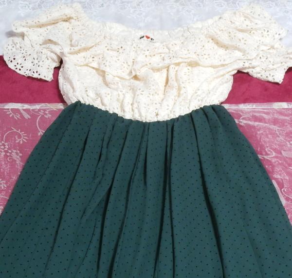 白フローラルホワイトマキシワンピース/緑シフォンロングスカート/ドレス White ruffle lace maxi onepiece/green chiffon skirt/dress_画像5