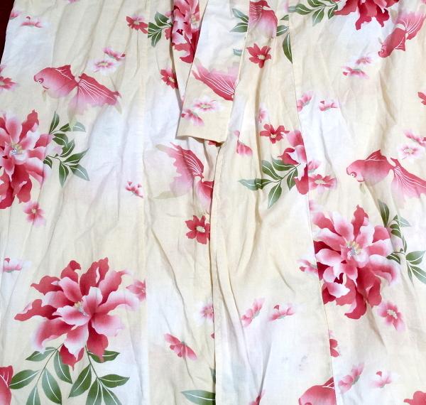 金魚花柄黄檗色浴衣/和服/着物 Goldfish floral pattern yellow color yukata/Japanese clothes/kimono_画像3