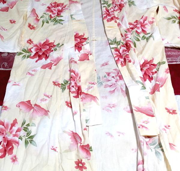 金魚花柄黄檗色浴衣/和服/着物 Goldfish floral pattern yellow color yukata/Japanese clothes/kimono_画像2