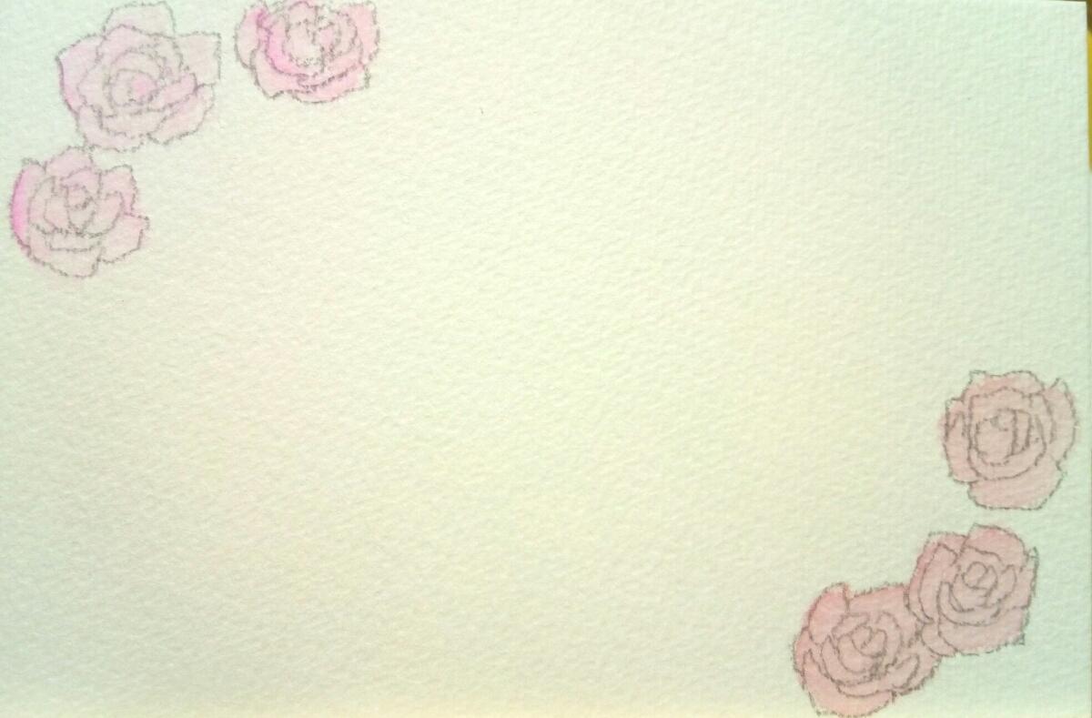 手描き オリジナル 柄入り ポストカード 5枚セット 原画 水彩画用 ハガキ 水彩イラスト 花 桜 ガーベラ バラ ハート 星 流れ星_画像5